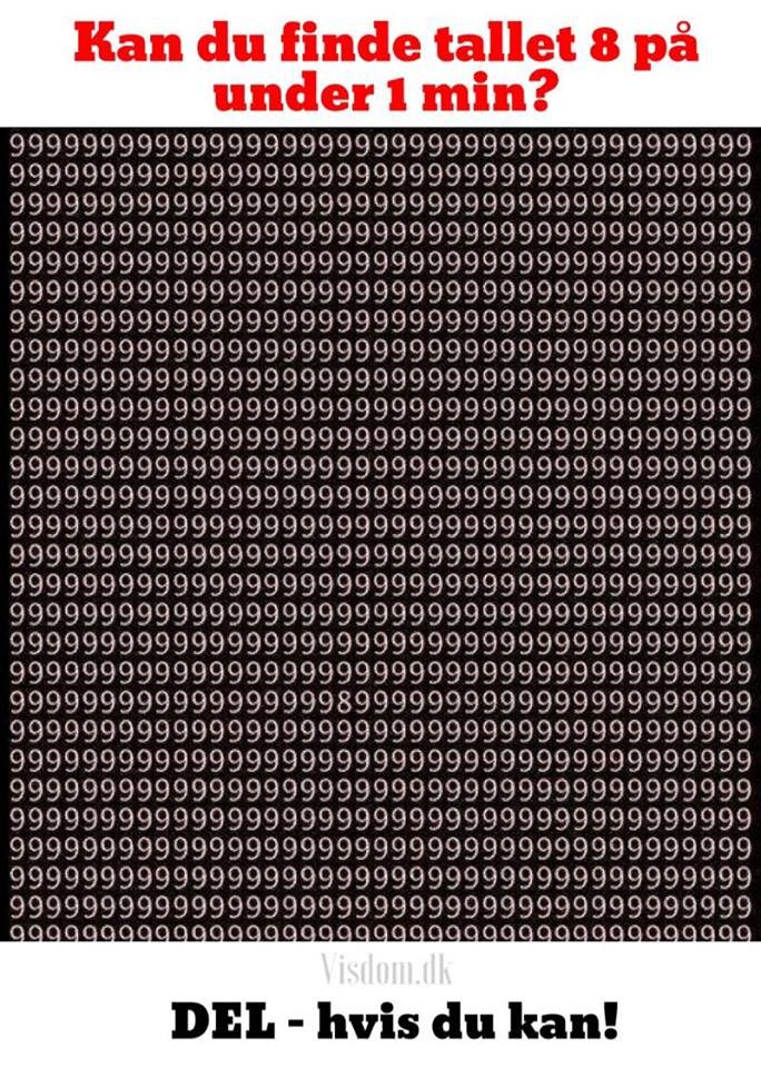 kan du finde tallet 8 på under 1 min?