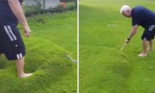Efter et enormt uvejr, kom der en mystisk bobbel i græsset - da han stikker hul i den kommer dette ud.
