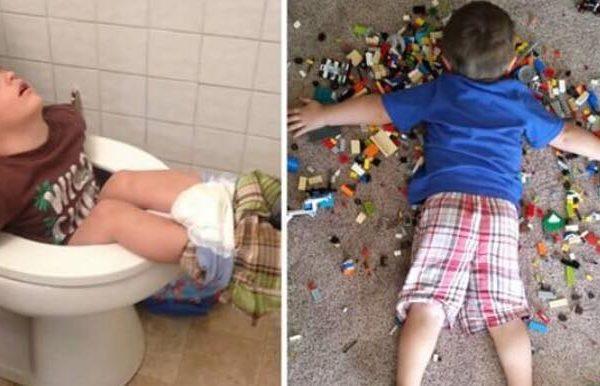 10 fotos der viser at børn bogstaveligt talt kan falde i søvn hvor som helst - nummer 3 er genial
