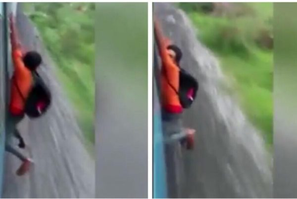 Ung mand prøver at udfører vildt stunt i tog - Det ender helt galt