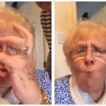 Bedstemor udforsker de sjove filtre på mobilen – Hendes reaktion er hylende morsom!