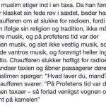 En muslim stiger ind i en taxa..