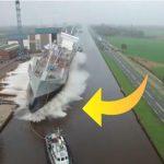 Kæmpe skib trækkes ud i vandet – så sker det utrolige